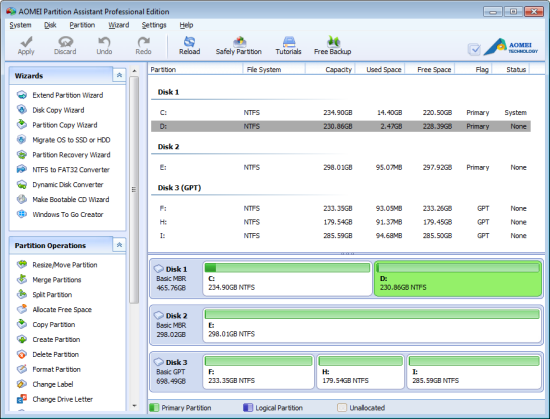 Aomei Partition Assistant Professional Screenshot