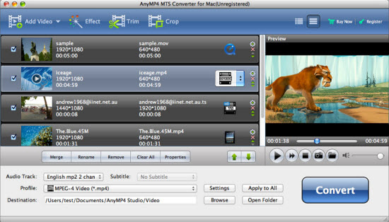 AnyMP4 MTS Converter for Mac Screenshot