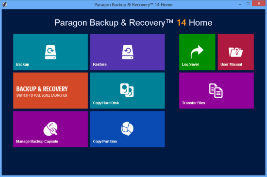 Paragon Backup & Recovery 14 Home Screenshot