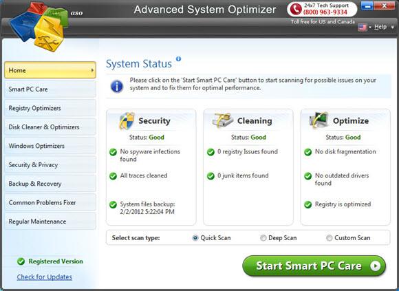 Systweak Advanced System Optimizer Screenshot