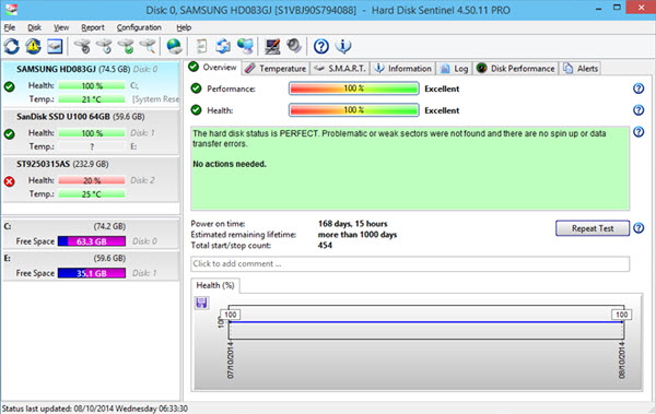 Hard Disk Sentinel Professional Screenshot