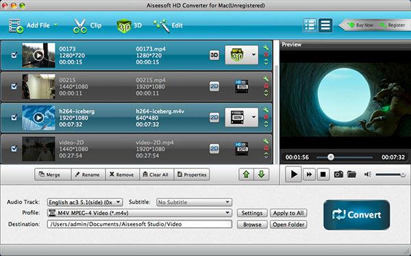Aiseesoft HD Converter for Mac Screenshot