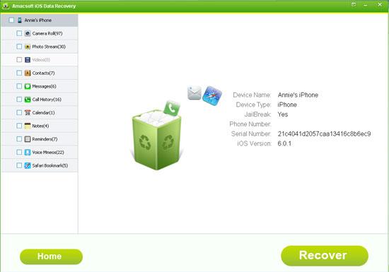Amacsoft iOS Data Recovery Screenshot