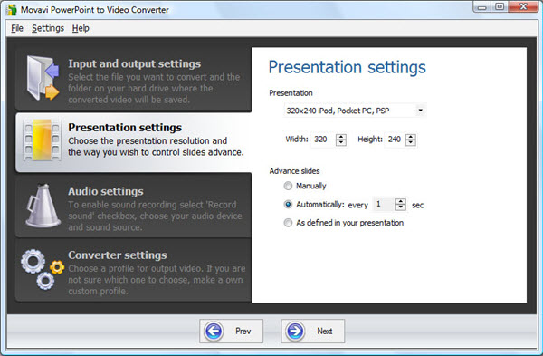 Movavi PowerPoint to Video Converter Screenshot