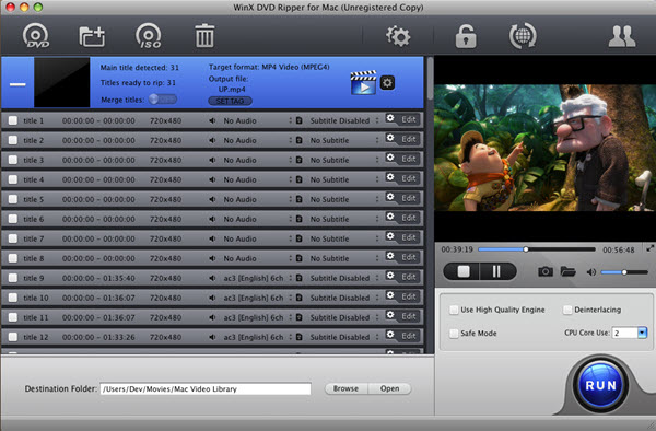 WinX DVD Ripper for Mac Screenshot