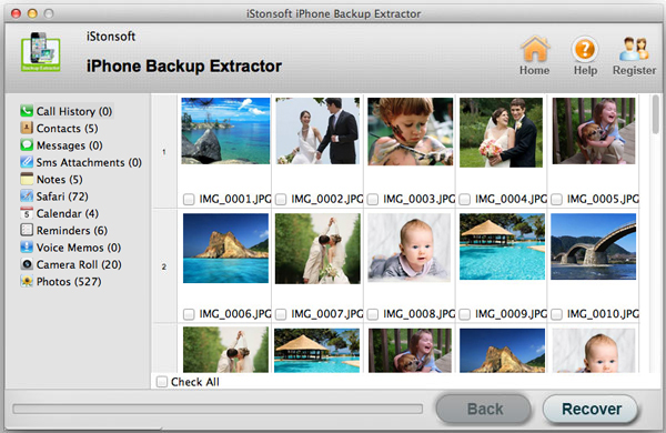 iStonsoft iPhone Backup Extractor for Mac Screenshot