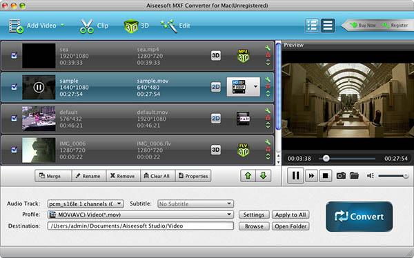 Aiseesoft MXF Converter for Mac Screenshot