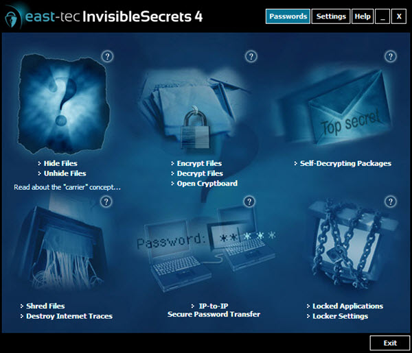 east-tec InvisibleSecrets 4 Screenshot