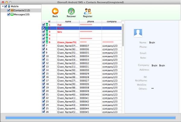 iStonsoft Android SMS+Contacts Recovery for Mac Screenshot