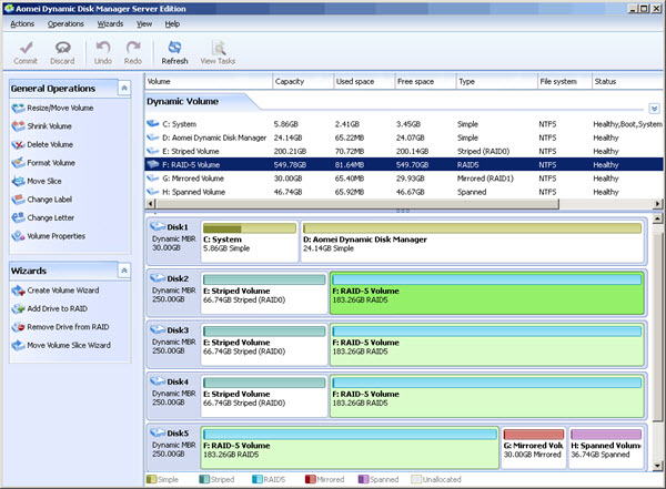 AOMEI Dynamic Disk Manager Screenshot