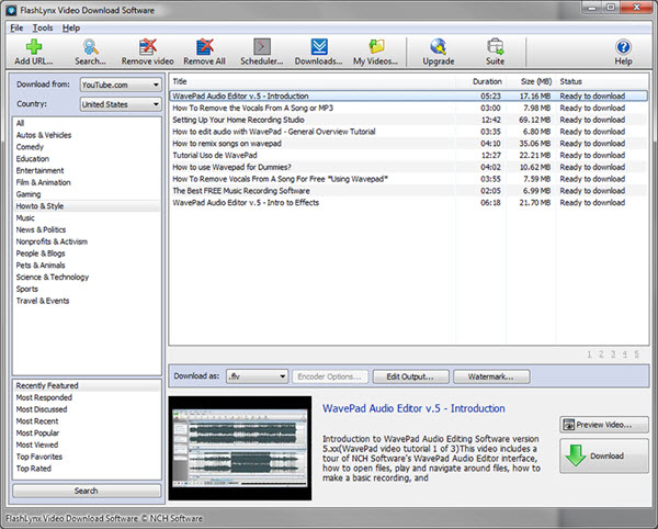 FlashLynx YouTube Video Downloader Screenshot