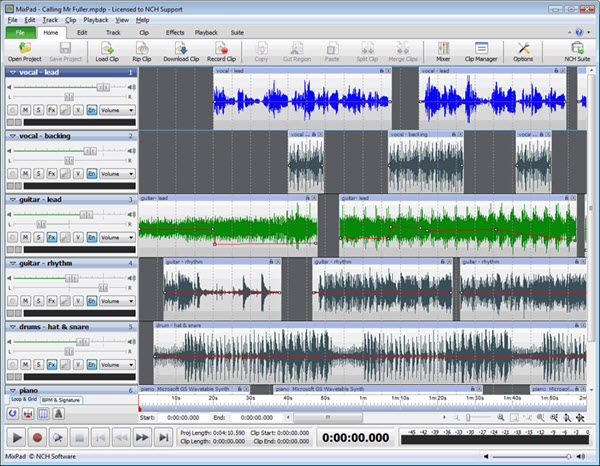 MixPad Multitrack Mixer Screenshot