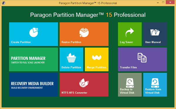 Paragon Partition Manager 15 Screenshot