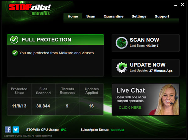 STOPzilla AntiVirus Screenshot