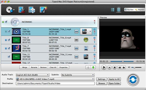 Tipard Mac DVD Ripper Platinum Screenshot