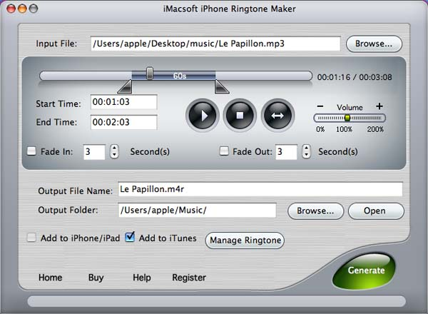 iMacsoft iPhone Ringtone Maker for Mac Screenshot