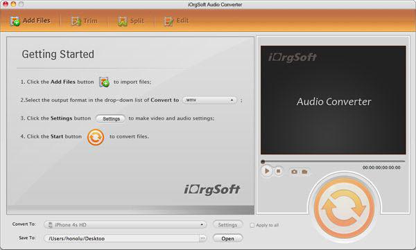 iOrgsoft Audio Converter for Mac Screenshot