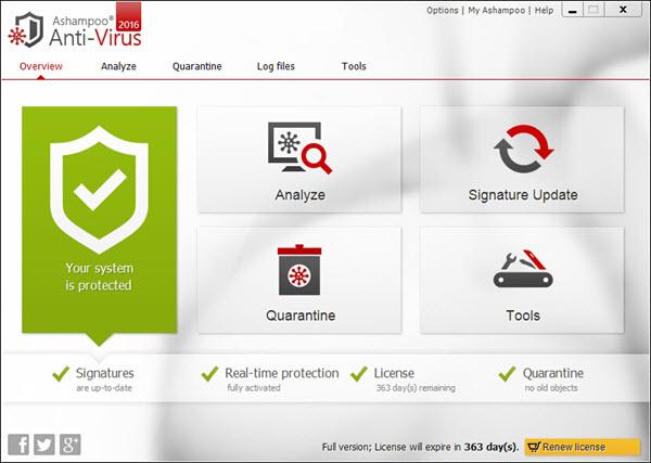 Ashampoo Anti-Virus 2016 Screenshot
