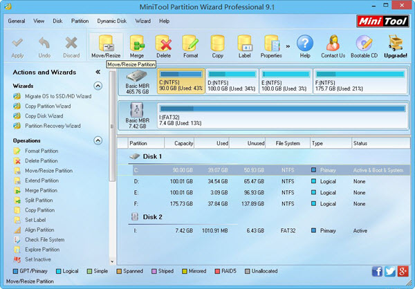 MiniTool Partition Wizard Professional 9.1 Screenshot