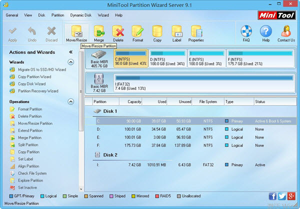 MiniTool Partition Wizard Server Edition Screenshot