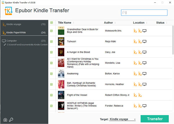 Epubor Kindle Transfer Screenshot