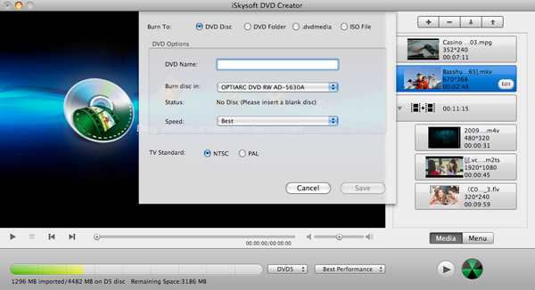 iSkysoft DVD Creator for Mac Screenshot